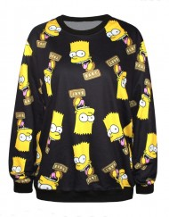 Autumn Casual 3D Sweatshirts Bart Simpson Print Women Hoody Long Sleeve Hoodies Pullovers For Women