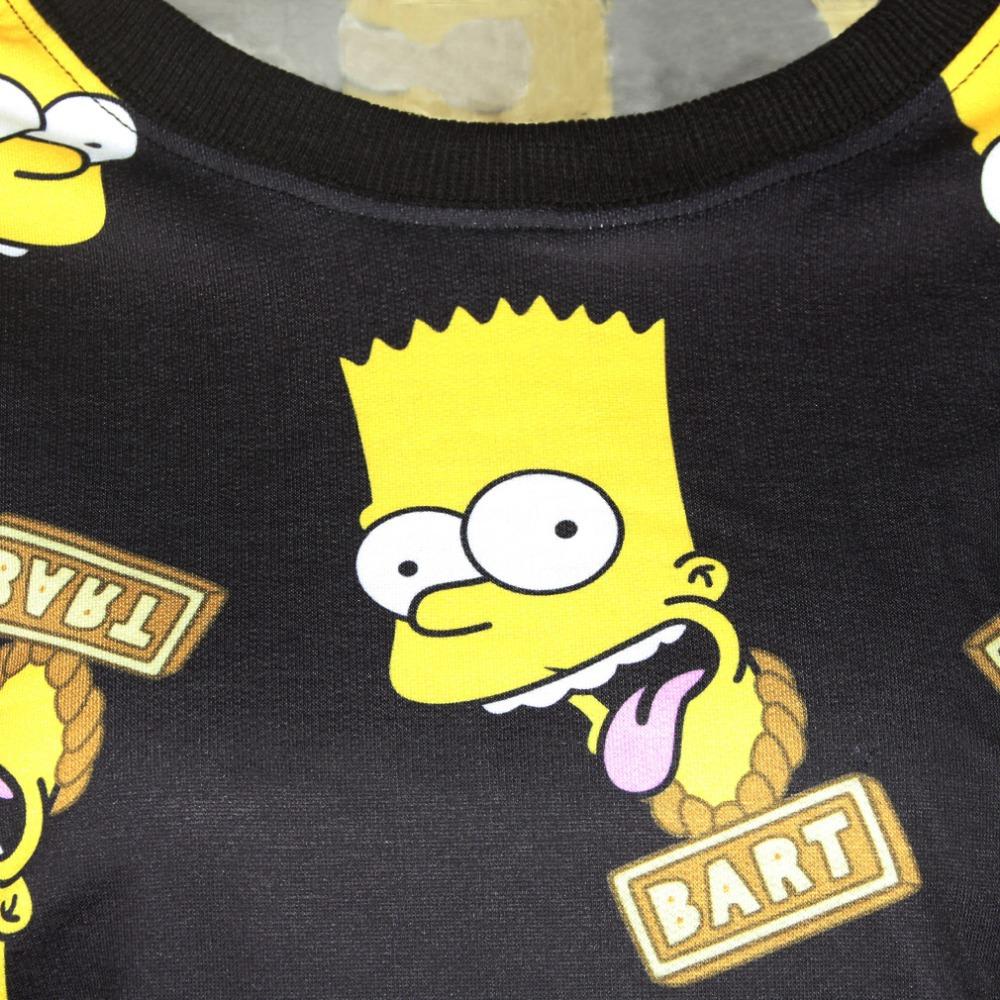 Autumn Casual 3d Sweatshirts Bart Simpson Print Women Hoody Long