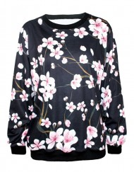 Autumn Winter Fashion Sweatshirts Cherry Blossom Print Women Hoodies Long Sleeve Pullovers For Women