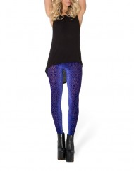 Autumn Winter Jungle Look Burned Velvet Blurple Leggings Plus Size XXXL Winter Leggings Adventure Time