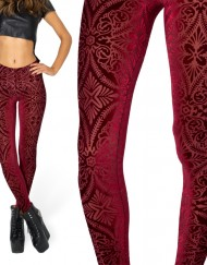 Autumn Winter Leggings Warm Leggings Adventure Time  Fitness Warm Pants Burned Velvet Wine Red Plus Size
