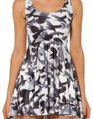 Autumn Winter Skater Dress Black White Dress Printed Dresses Birds Raven
