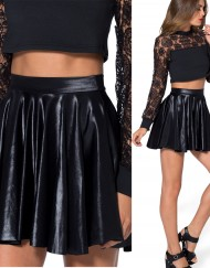 Autumn Winter Summer Women Skirt Black Wet Look Leather Skirts Plus Size XL XXL Skater Skirt Black Pleated Skirts