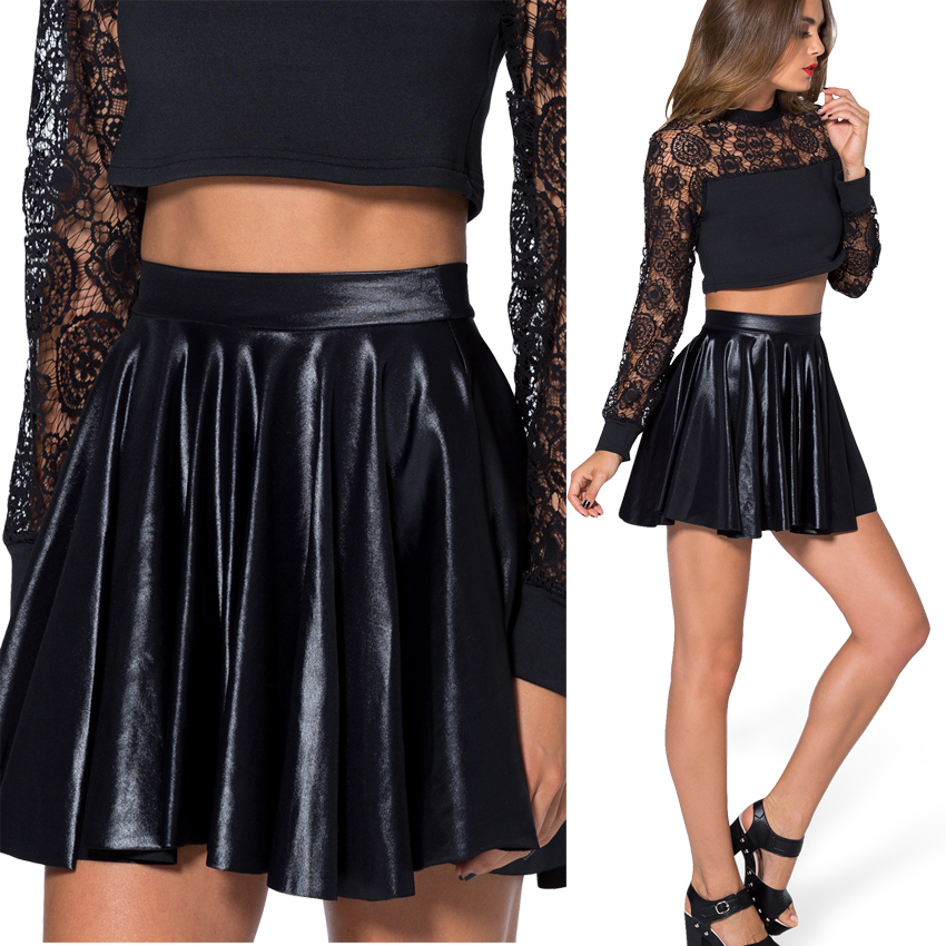 Autumn Winter Summer Women Skirt Black Wet Look Leather ...