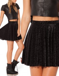 Autumn Winter Women Skater Skirt Black Velvet Skirts Leopard Printed Plus Size XXL Skater Skirts Short Skirts