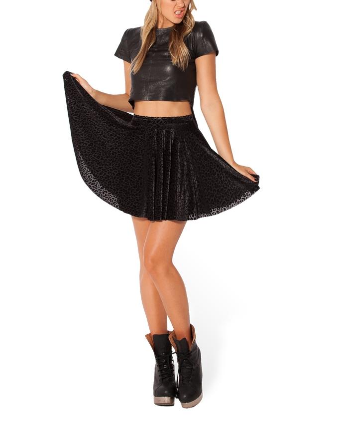 b44002b627 Autumn Winter Women Skater Skirt Black Velvet Skirts Leopard Printed Plus  Size XXL Skater Skirts Short Skirts