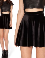 Autumn Winter Women Skater Skirt Black Velvet Skirts Plus Size XL XXL Skater Skirt Short Skirts Womens