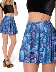 Skater Skirt Midnight Owl Jungle Look Mini Pleated Skirt Bird Print Short Skirts Womens Casual