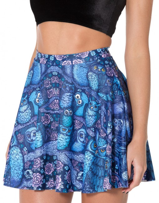 Skater Skirt Midnight Owl Jungle Look Mini Pleated Skirt Bird Print Short Skirts Womens Casual
