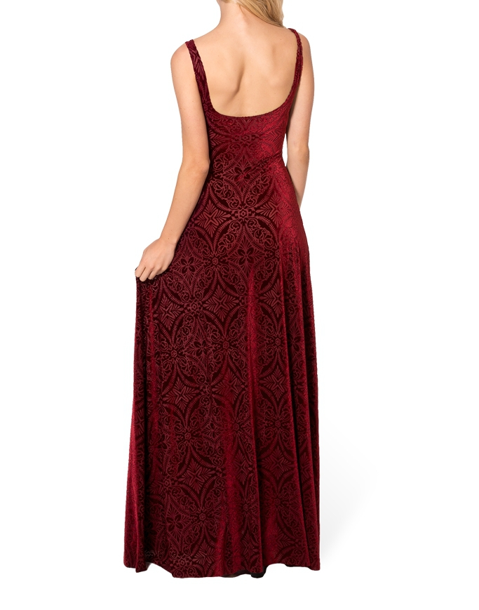 Winter Dress Women Gown Long Elegant Prom Dresses Burned Velvet Maxi ...