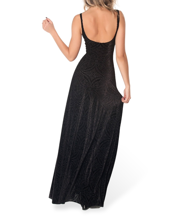 Winter Dress Women Gown Long Elegant Prom Dresses Burned Velvet Maxi