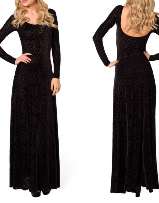 Winter Dresses Elegant Long Sleeve Evening Dresses Burned Velvet ...