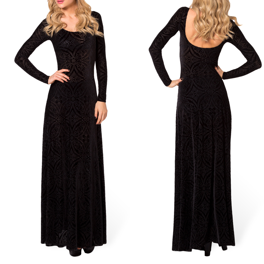 Winter Dresses Elegant Long Sleeve Evening Dresses Burned Velvet Dress Evening Long Maxi Dress Ball Gown Plus Size XXL XXXL | Avery Couture