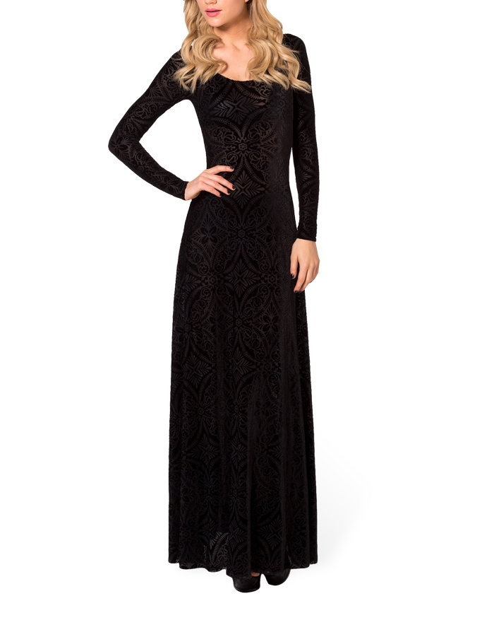 Winter Dresses Elegant Long Sleeve Evening Burned Velvet Dress Maxi Ball Gown Plus Size L Xl Avery Couture