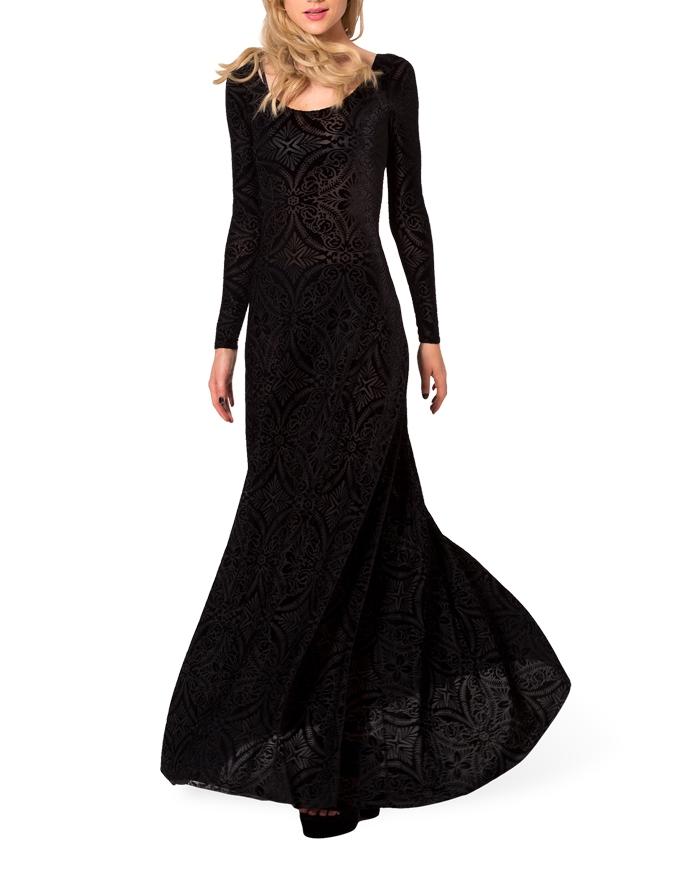Winter Dresses Elegant Long Sleeve Evening Dresses Burned Velvet ...