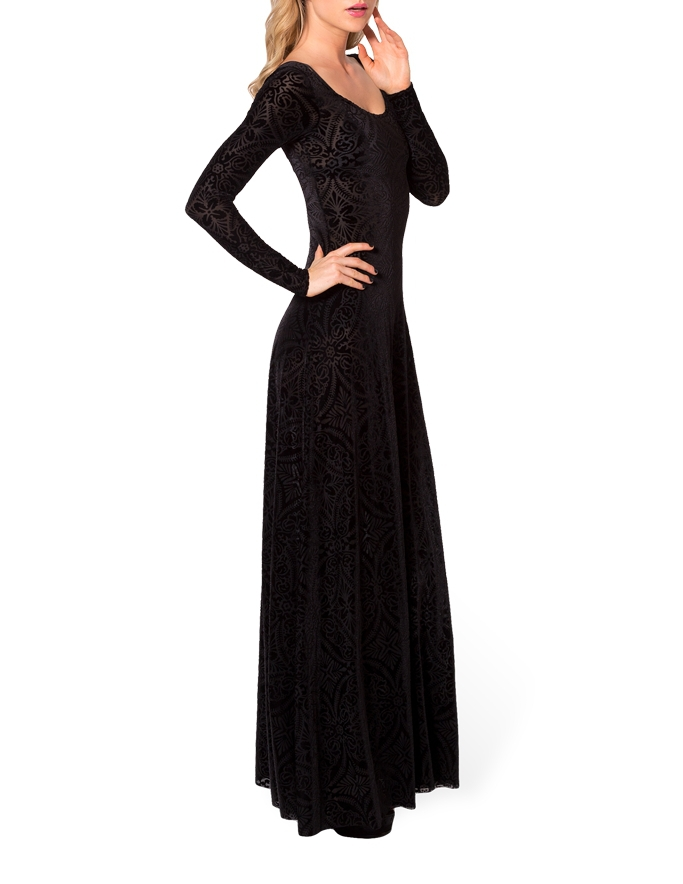 62da427fbb6 Winter Dresses Elegant Long Sleeve Evening Dresses Burned Velvet Dress  Evening Long Maxi Dress Ball Gown. prev