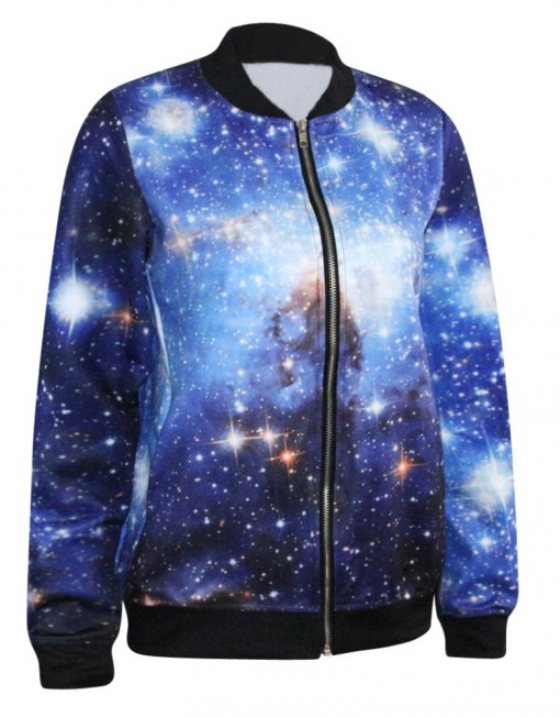 Autumn Winter Jackets Women Bomber Jacket Print Blue Galaxy Blazer Women Jackets And Coats Plus Size