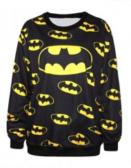 Autumn Winter Fashion Casual Sweatshirts Women Hoodies Batman Print Long Sleeve Pullovers For Women