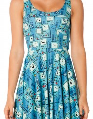 Adventure Time BMO Scoop Skater Dress for Women Fashion Women's  Girl Dress