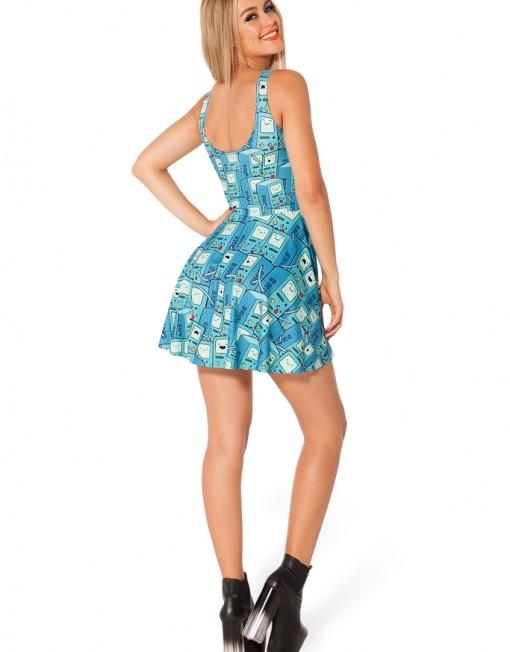 Adventure Time BMO Scoop Skater Dress for Women Fashion Women's  Girl Dress