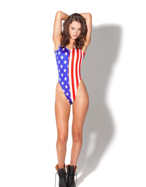 American Flag Bodysuit Swimsuit for Women Fashion Women's  One Piece Swimsuit