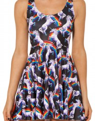 Attack Of The Unicorn White Horse Skater Dress for Women Fashion Women's  Girl Dress