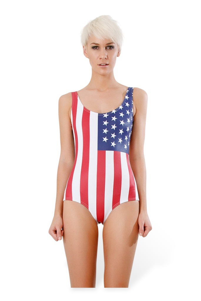 Bodysuit American Flag One Piece Swimsuit for Women Fashion Women s Girl  Swimsuit  56c91f5bf