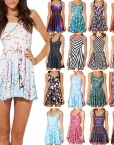 Cherry Blossom Blue Skater Dress for Women Fashion Women's  Girl Dress