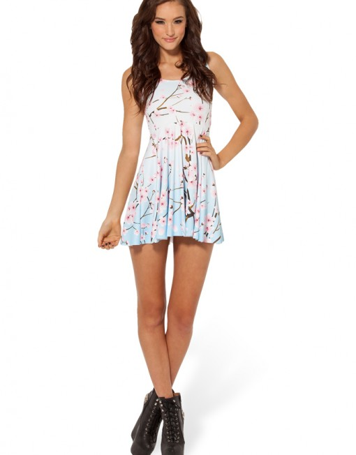 Cherry Blossom Blue Skater Dress for Women Fashion Women's  Girl Dress