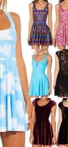 Clouds Reversible Skater Dress for Women Fashion Women's  Girl Dress