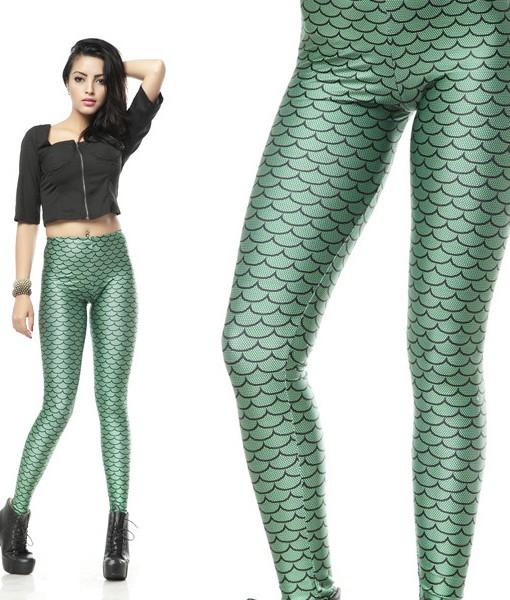 e68d329bdb2e46 Hot Sale Women Leggings Mermaid Sea Maid Green Printed Footless Leggings  Fitness Clothing For Women