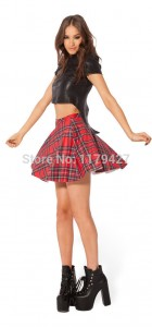 Summer Skirts Womens Tartan Red Skater Skirt High Waist Skirt Fashion Mini Skirts Womens