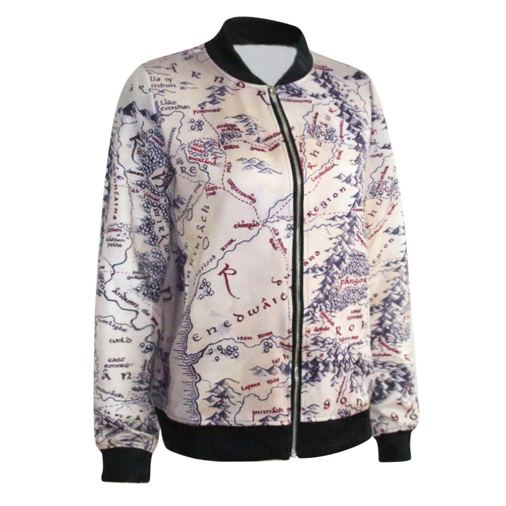 Autumn Women Jackets Fashion Women Clothes Middle Earth Map Print