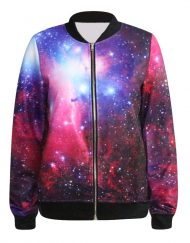 Autumn Women Jackets Fashion Women Clothes Purple Galaxy Print Bomber Jacket 3D Print Coat For Women Plus Size