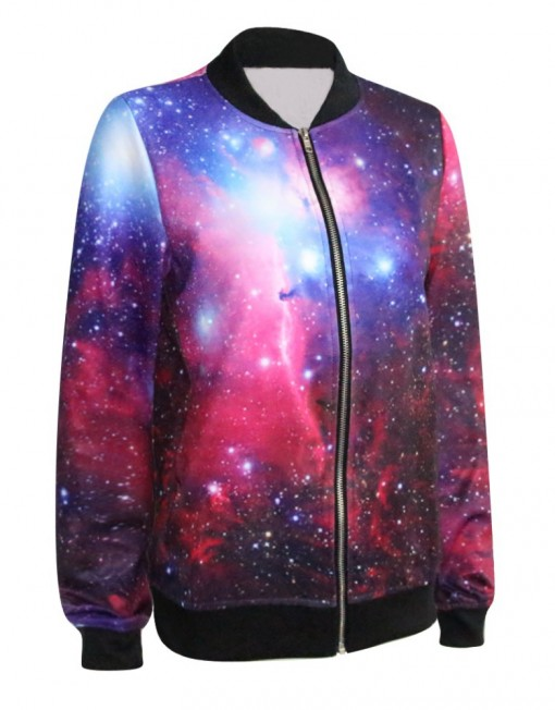 Autumn Women Jackets Fashion Women Clothes Purple Galaxy Print Bomber Jacket 3D Print Coat For Women Plus Size