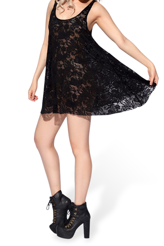 Designer Inspired Lace Baby Doll Dress Women Black Lace