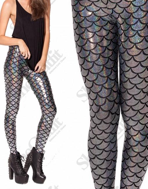 Designer Inspired Winter Leggings Adventure Time Casual Silver Mermaid Leggings Warm Legging ...