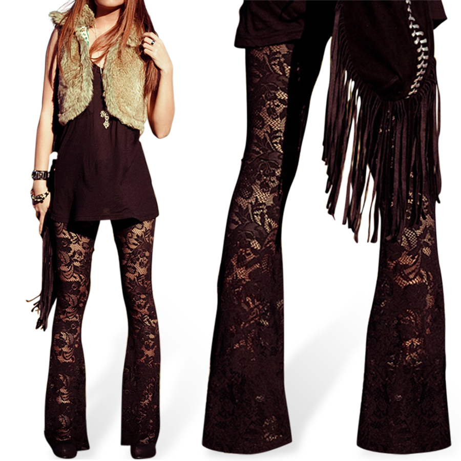 Designer Inspired Women Pants Sexy Lace Pants Lace Flares ...