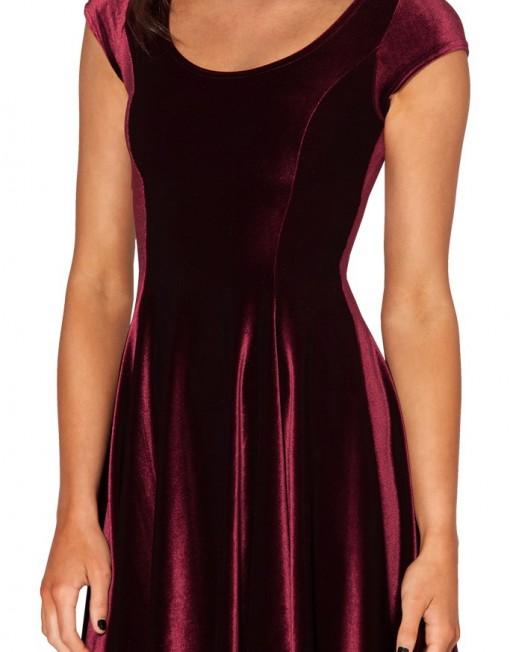 Skater Dresses With Cap Velvet Dress Party Evening Elegant Fall Autumn Plus Size Women Clothing Red Dress